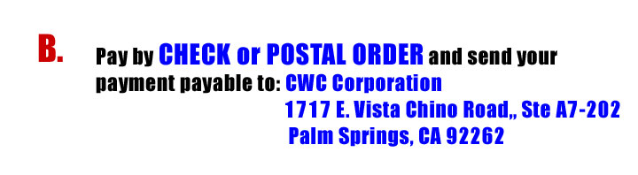 Pay by Check or Postal order